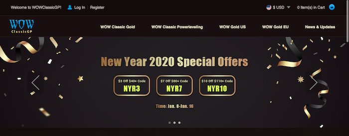WOWclassicgp Supply Up to 9% off wow classic gold US to Celebrate New Year