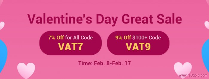 Buy Runescape 3 Gold & OSRS Gold with Up to 9% Off in Valentine's Day Great Sale