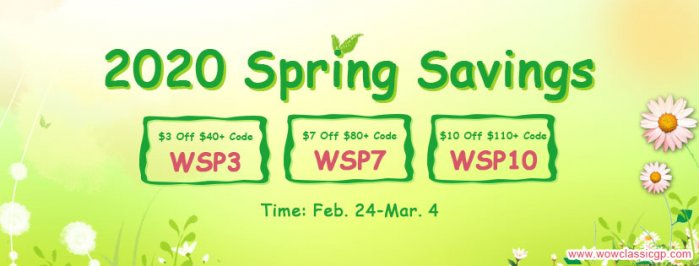 Up to $10 Off WOW Classic Gold US/EU offered on WOWclassicgp as 2020 Spring Savings