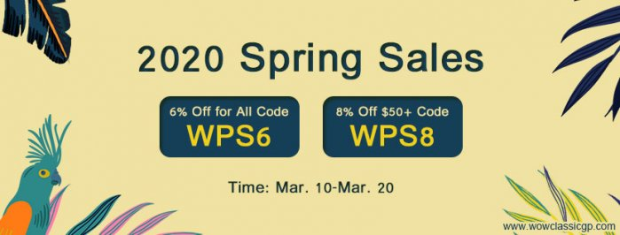 Spring Sale on wowclassicgp:Up to 8% off cheapest wow classic gold for Battleground holidays
