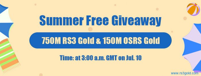 Hurry to Take Part in 2020 Summer Free Giveaway for Free 900M RS 3 Gold