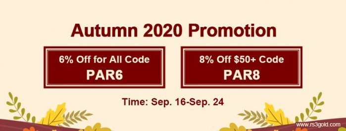 Runescape 3 gold with Up to 8% off Code PAR8 on RS3gold.com as Autumn 2020 Promotion