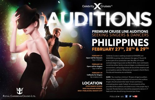 Open Dance Call for Dancers and Dancers who Sing. Celebrity Cruises Productions. Manila, Philippines