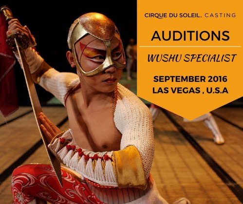 Audition for Cirque du Soleil Wushu male and female specialists in Las Vegas