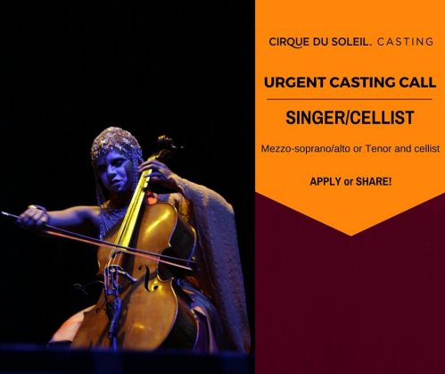 Urgent casting call for Cirque Du Soleil SINGER/CELLIST for resident show KA in Las Vegas, Nevada