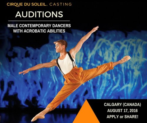 Audition for male contemporary dancers in Canada for Cirque Du Soleil