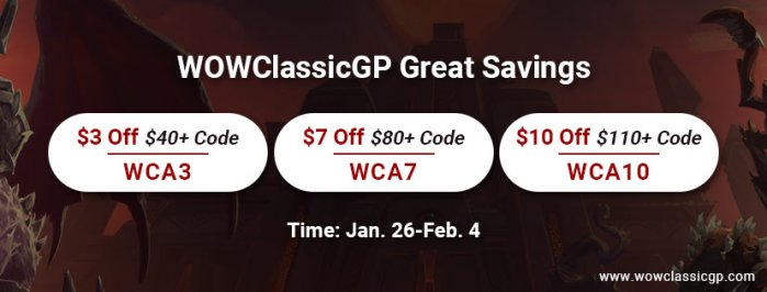 WOWclassicgp Great Savings: Up to 9% off wow classic gold for All Players