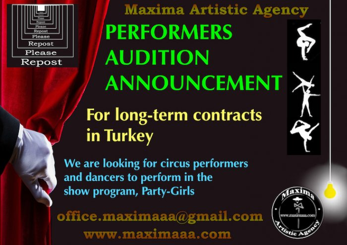 Maxima Artistic Agency audition for Circus performers and dancers